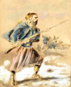 DUPENDANT (19th century) Continental Near Eastern Soldier Watercolour and bodycolour Signed,