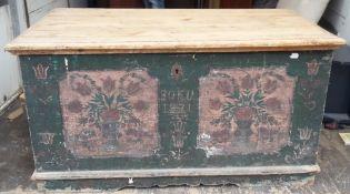 A 19th century Scandinavian painted pine trunk
