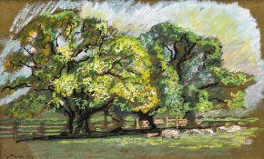 *AR JOHN OWEN (born 1928) British Oaks at Mockbeggar Ink and pastels Signed and dated 74 53 x 33 cm,