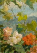 *AR MANY EMMANUEL MICHEL BENNER (1873-1965) French Flowers in a Mountainous Landscape Oil on