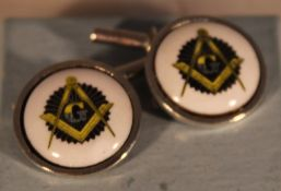 A pair of silver Masonic cufflinks