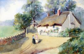 M BAILEY (19th/20th century) British Figures Before Rural Cottages Watercolours Signed 27 x 18 cm,