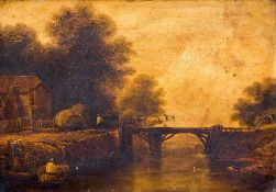 ENGLISH SCHOOL (19th century) Figures in a River Landscape Before a Hay Wain Crossing a Bridge Oil