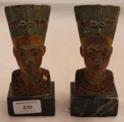 A pair of early 20th century Egyptian busts