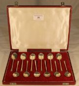 A cased set of silver tea/coffee spoons