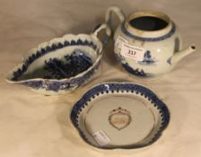 Three pieces of 18th century Chinese Export porcelain
