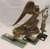 Four Art Deco style figures