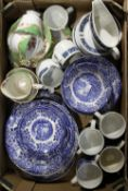 A quantity of blue and white ceramics etc