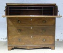 A 19th century mahogany secretaire chest