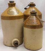 Three vintage stoneware flagons,
