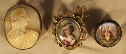 A Victorian porcelain brooch,