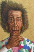 *AR DERMOT HOLLAND (20th century) Irish Portrait Oil on canvas Signed 39 x 59 cm,