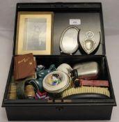 A black tin box,