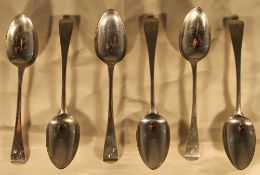 A boxed set of six silver marriage spoons