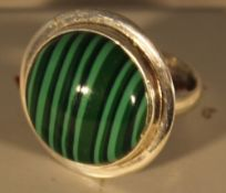 A silver and malacite ring