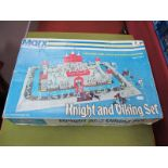 An Original Late American Marx Knight and Viking Playset, with tin-plastic fort and plastic figures,