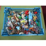 A Quantity of Mid XX Century and Later Plastic Figures by Crescent, Herald, Among Others, playworn.