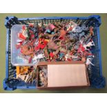 A Quantity of Mid XX Century and Later Plastic Figures by Various Makers, playworn.