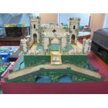 A Tri-ang Style Mid XX Century Toy Fort, with electric light fitting, Medieval style, 56cm wide,