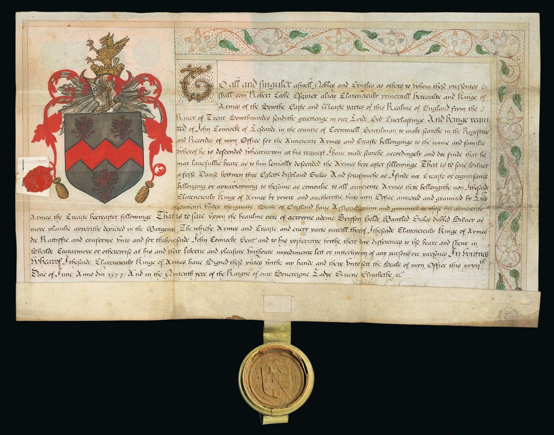 Lot 810 - Autographs Elizabethan Grant of Arms 1577 (27 June) illustrated Grant of Arms on vellum for John Co