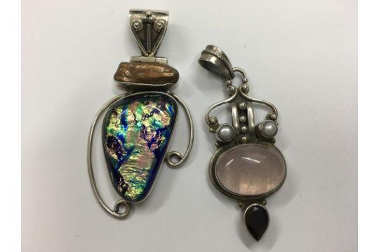 Two contemporary stone set silver pendants aloadofball Choice Image