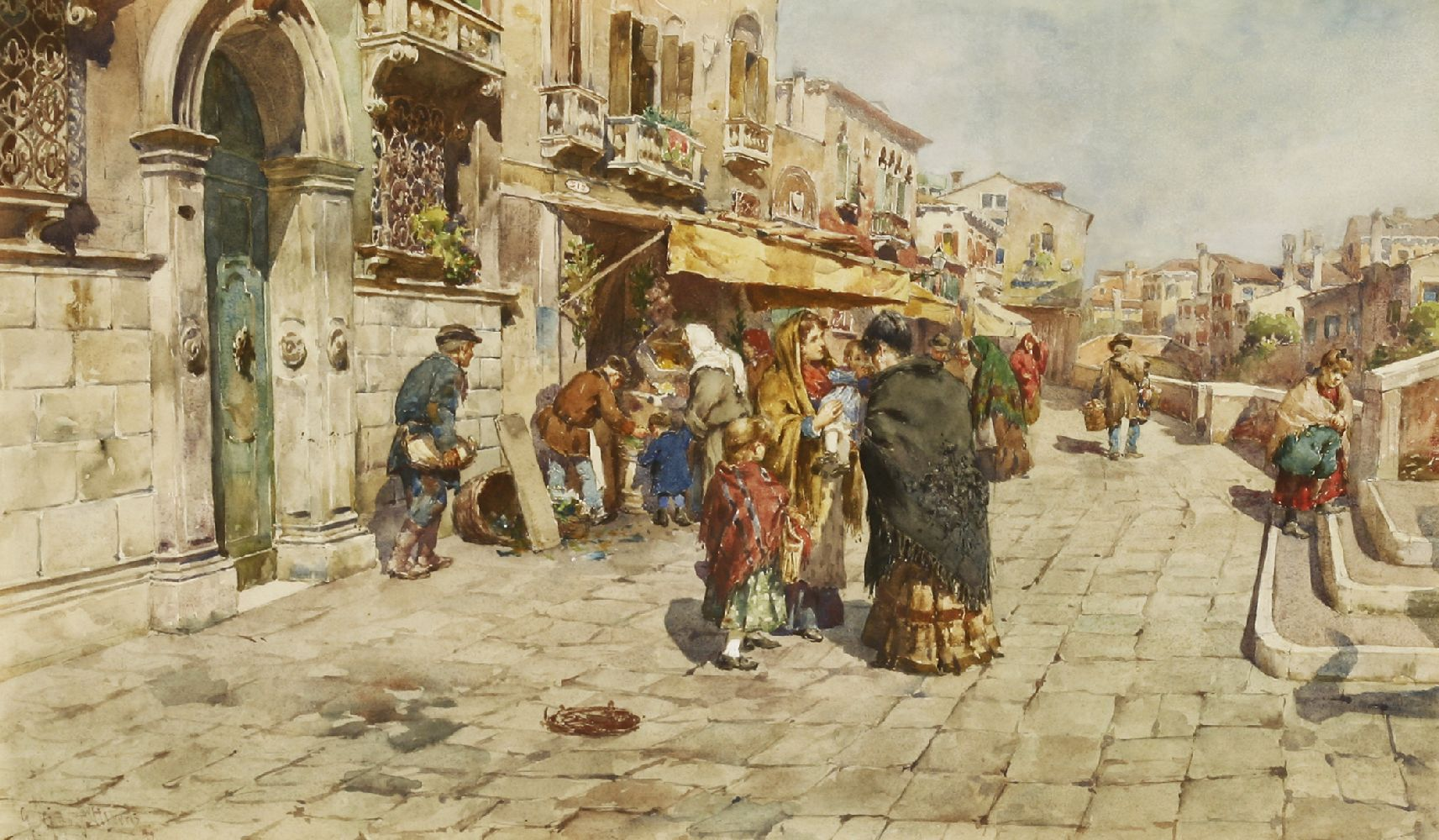 Giuseppe Vizzotto Alberti (Italian, 1862-1931)A MEETING BESIDE A VENETIAN CANALSigned and dated '