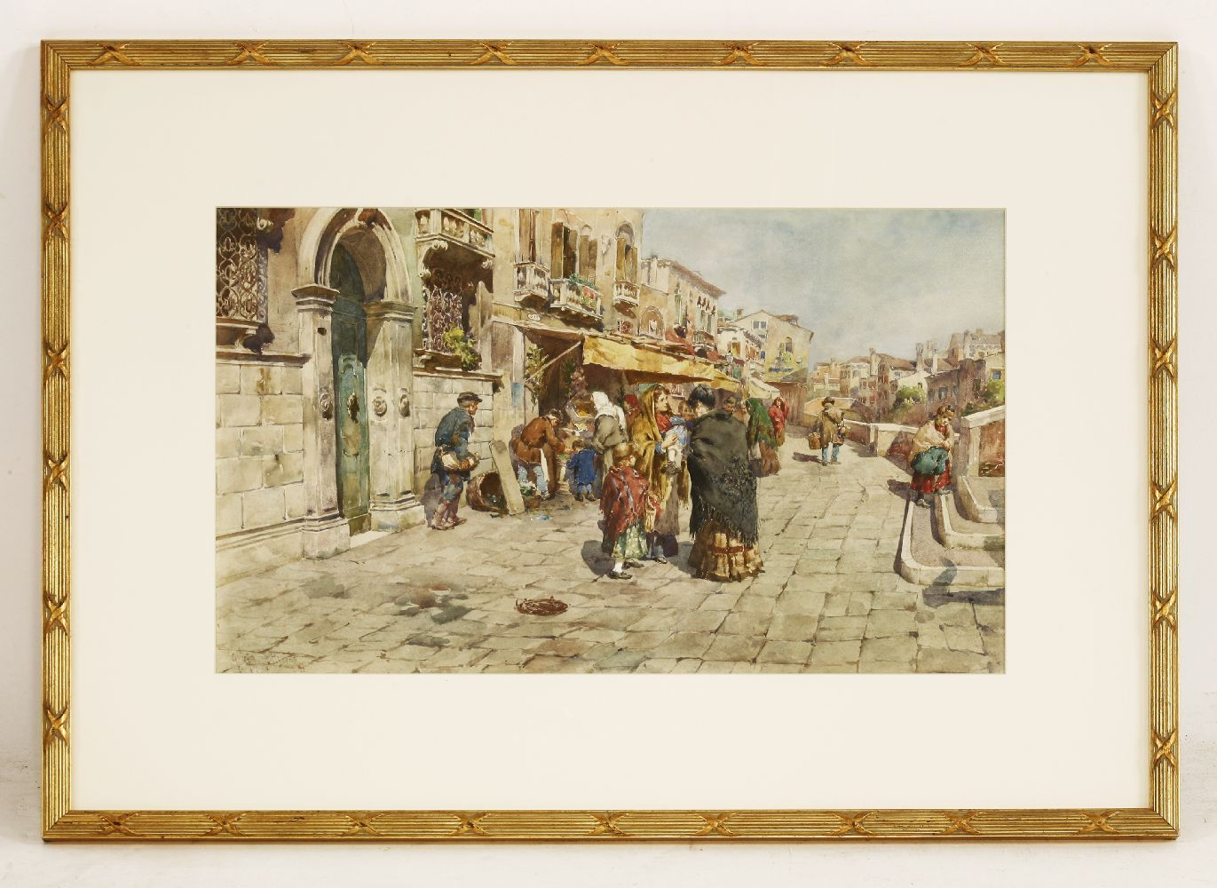 Giuseppe Vizzotto Alberti (Italian, 1862-1931)A MEETING BESIDE A VENETIAN CANALSigned and dated ' - Image 2 of 4