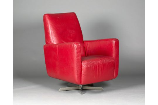 A Late 20th Century Italian Red Leather Revolving Armchair By - Red-italian-leather-armchairs-from-natuzzi