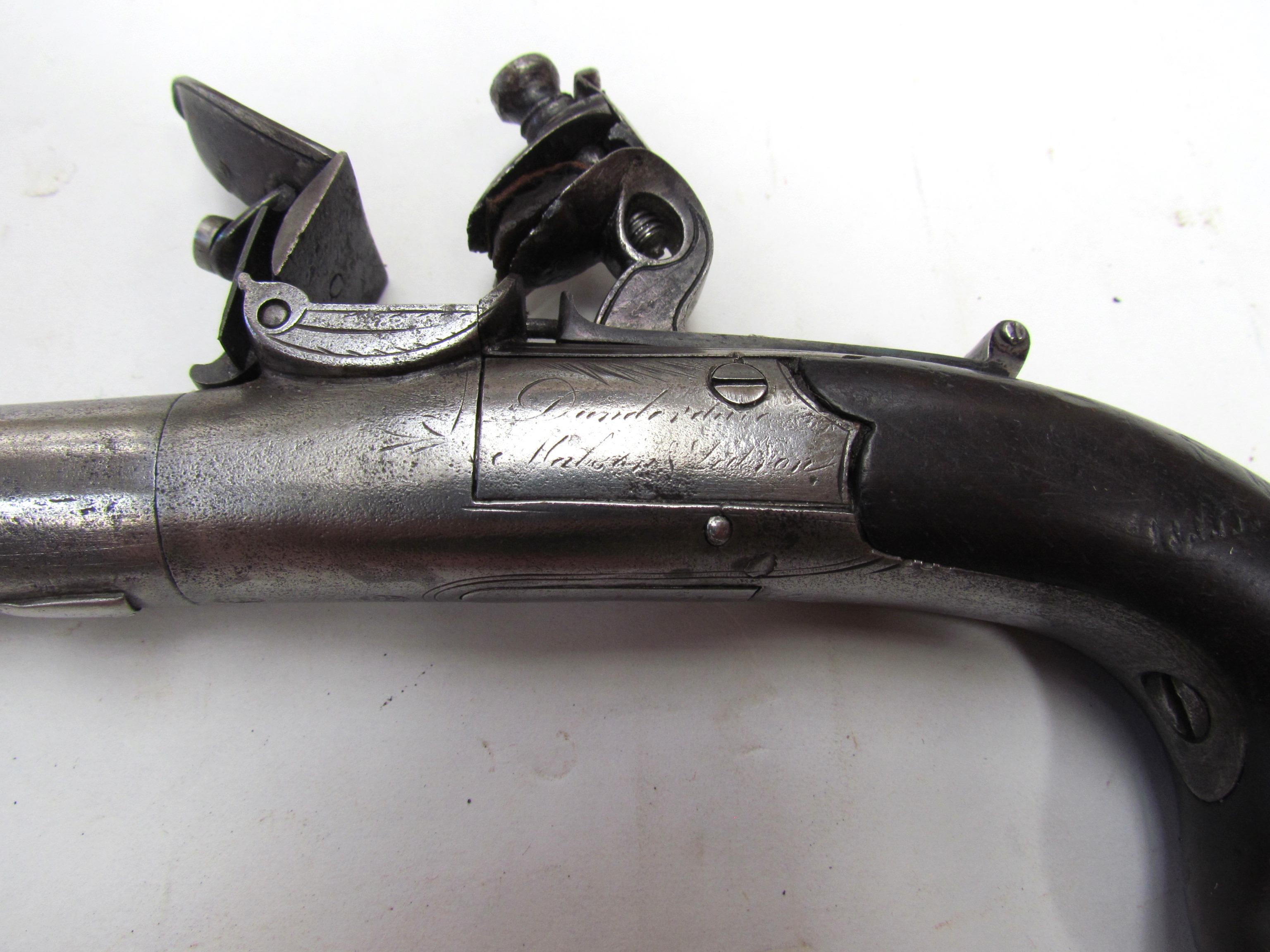 An 18th Century Flintlock Round Barrel Pistol With British Proof
