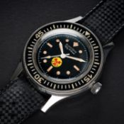 """AN EXTREMELY RARE GENTLEMAN'S STAINLESS STEEL BLANCPAIN FIFTY FATHOMS """"NO RADS"""" DIVERS WRIST WATCH"""