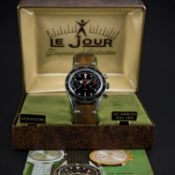 A RARE GENTLEMAN'S STAINLESS STEEL LEJOUR CHRONOGRAPH WRIST WATCH CIRCA 1960s WITH ORIGINAL BOX &