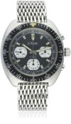 A RARE GENTLEMAN'S STAINLESS STEEL LE PHARE DIVERS CHRONOGRAPH BRACELET WATCH CIRCA 1970 D: Black