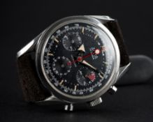 A RARE GENTLEMAN'S STAINLESS STEEL ALSTA CHRONOGRAPH WRIST WATCH CIRCA 1960s D: Black dial with