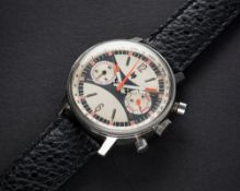 A RARE GENTLEMAN'S LARGE SIZE STAINLESS STEEL LIP CHRONOGRAPH WRIST WATCH CIRCA 1970 D: Silver &