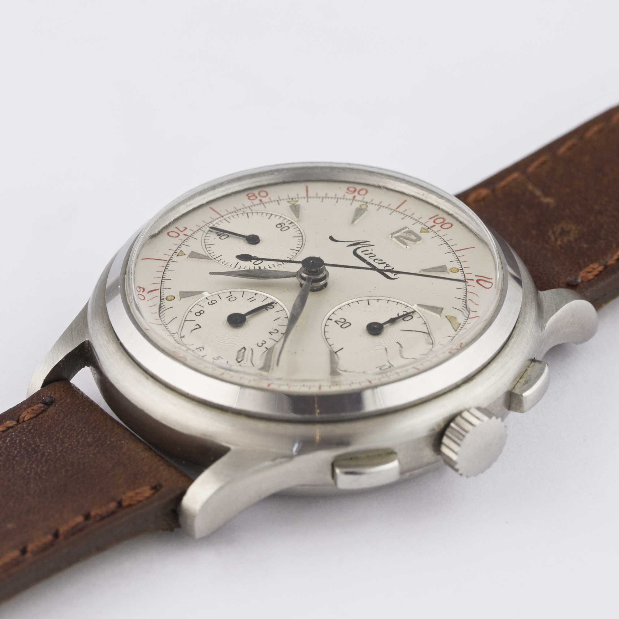 A RARE GENTLEMAN'S STAINLESS STEEL MINERVA DECIMAL CHRONOGRAPH WRIST WATCH CIRCA 1950s D: Silver - Image 4 of 9