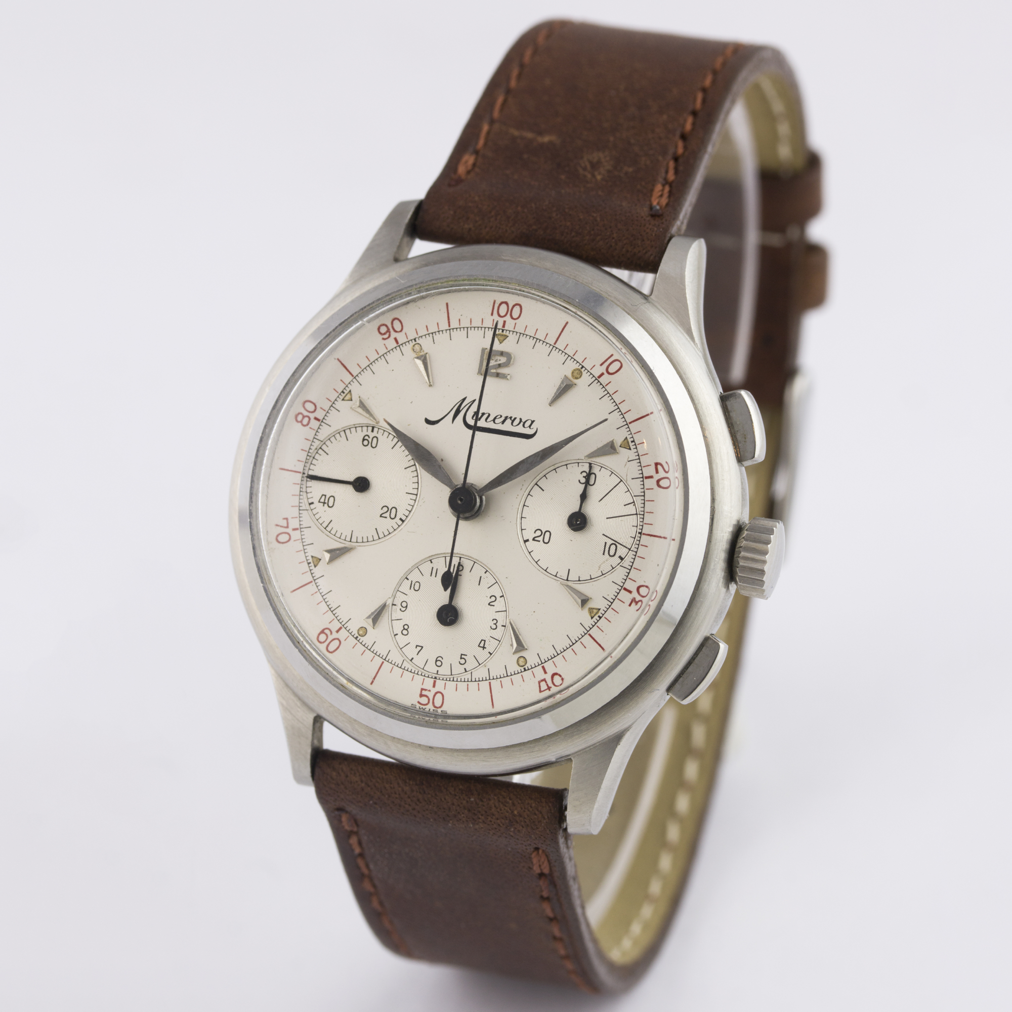 A RARE GENTLEMAN'S STAINLESS STEEL MINERVA DECIMAL CHRONOGRAPH WRIST WATCH CIRCA 1950s D: Silver - Image 5 of 9