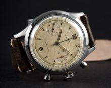 """A VERY RARE GENTLEMAN'S LARGE SIZE STAINLESS STEEL CYMA WATERSPORT """"CLAMSHELL"""" CHRONOGRAPH WRIST"""