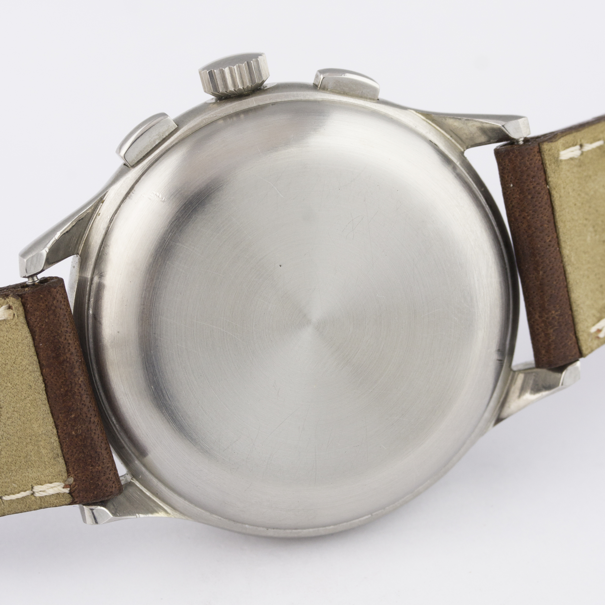 A RARE GENTLEMAN'S STAINLESS STEEL MINERVA DECIMAL CHRONOGRAPH WRIST WATCH CIRCA 1950s D: Silver - Image 7 of 9