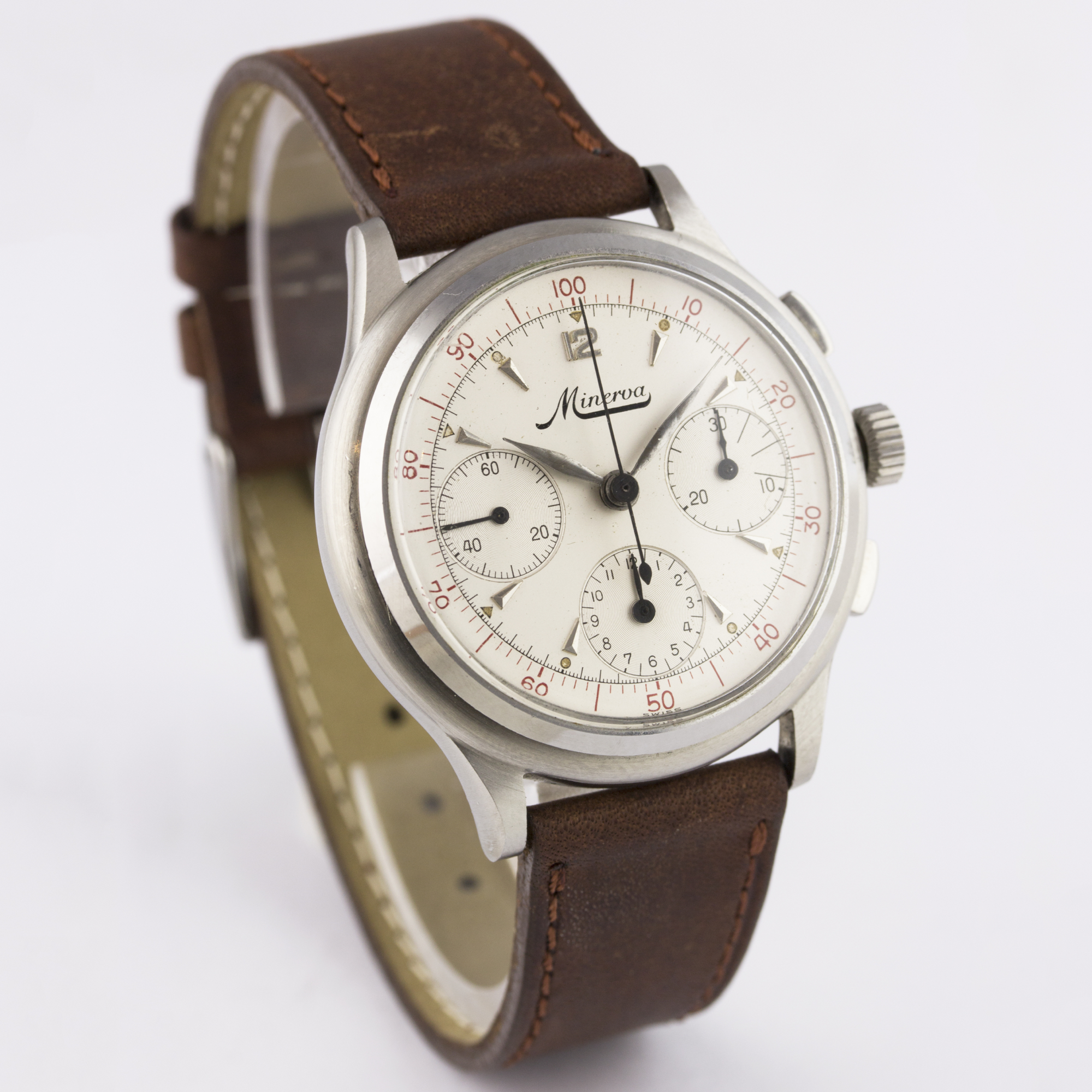 A RARE GENTLEMAN'S STAINLESS STEEL MINERVA DECIMAL CHRONOGRAPH WRIST WATCH CIRCA 1950s D: Silver - Image 6 of 9
