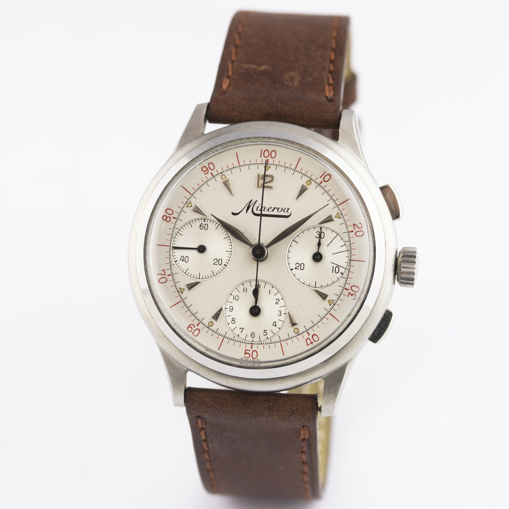 A RARE GENTLEMAN'S STAINLESS STEEL MINERVA DECIMAL CHRONOGRAPH WRIST WATCH CIRCA 1950s D: Silver - Image 3 of 9
