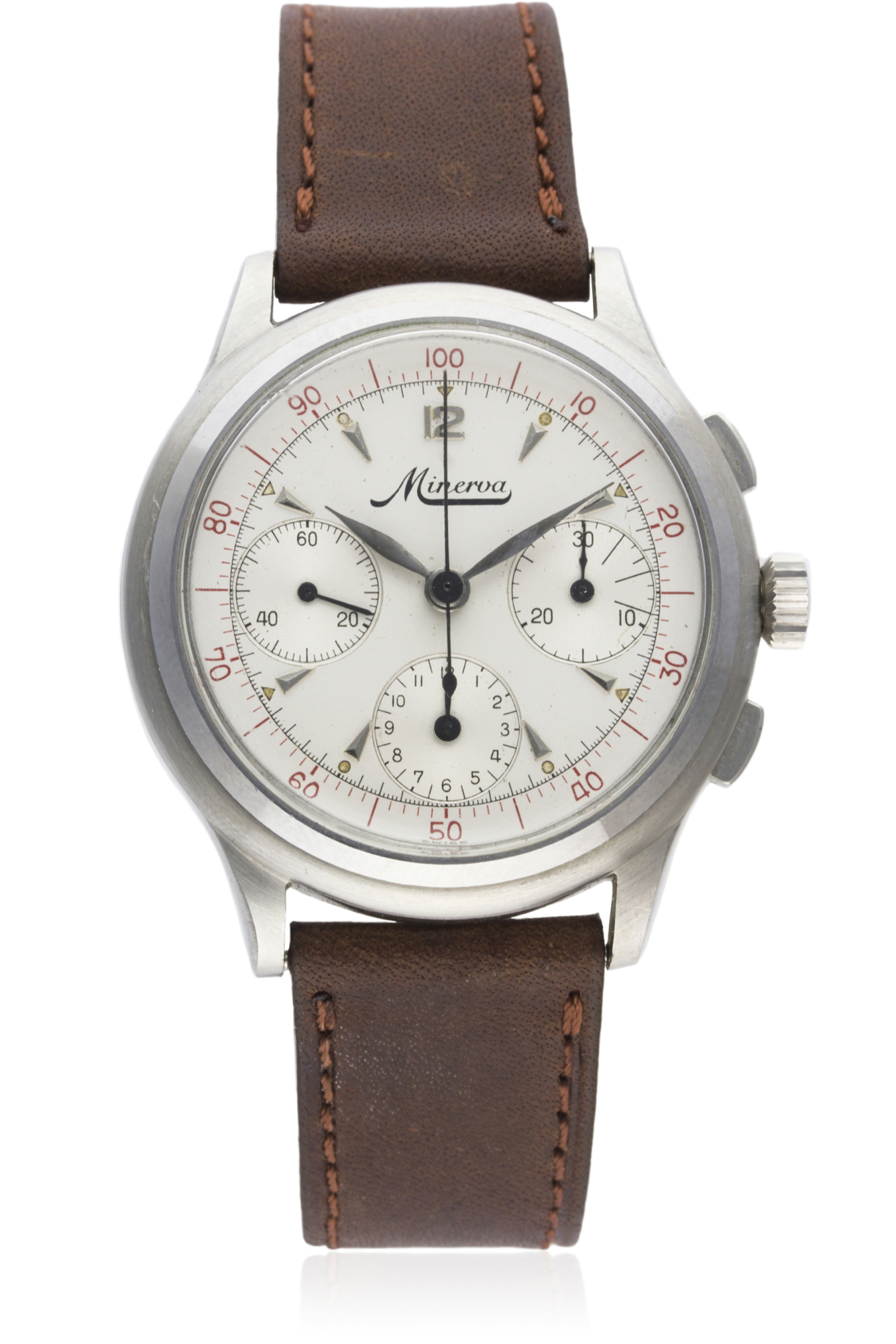 A RARE GENTLEMAN'S STAINLESS STEEL MINERVA DECIMAL CHRONOGRAPH WRIST WATCH CIRCA 1950s D: Silver - Image 2 of 9