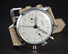"A RARE GENTLEMAN'S ""NOS"" GALLET 24 HOUR CHRONOGRAPH WRIST WATCH CIRCA 1960s D: Silver dial with"