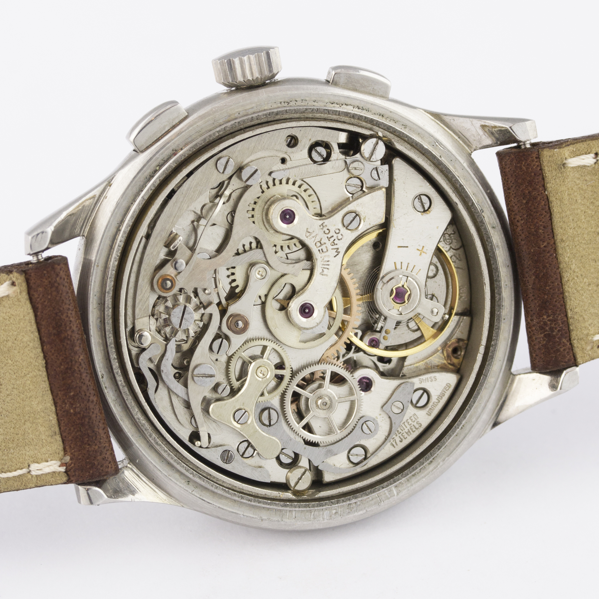 A RARE GENTLEMAN'S STAINLESS STEEL MINERVA DECIMAL CHRONOGRAPH WRIST WATCH CIRCA 1950s D: Silver - Image 8 of 9