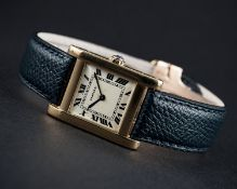 A FINE & RARE GENTLEMAN'S 18K SOLID GOLD CARTIER TANK NORMALE WRIST WATCH CIRCA 1950s, WITH LONDON