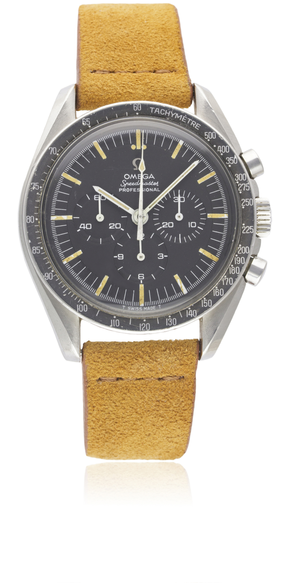 Lot 179 - A RARE GENTLEMAN'S STAINLESS STEEL OMEGA SPEEDMASTER PROFESSIONAL CHRONOGRAPH WRIST WATCH CIRCA