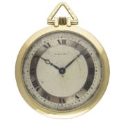 A 18K SOLID GOLD CARTIER POCKET WATCH CIRCA 1932, WITH GUILLOCHE DIAL & LONDON IMPORT HALLMARKS