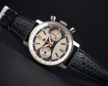 """A RARE GENTLEMAN'S LARGE SIZE STAINLESS STEEL LIP CHRONOGRAPH WRIST WATCH CIRCA 1970, WITH """""""