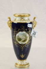 Lot 20 - Twin handled Coalport vase with hand painted Loch scene and signed E D Ball