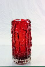 Lot 13 - Large Red Whitefriars Bark effect vase