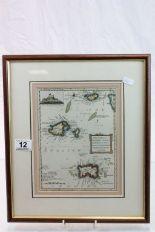 Lot 12 - Framed & glazed 18th Century Map of Guernsey, Jersey, Alderney & Sark